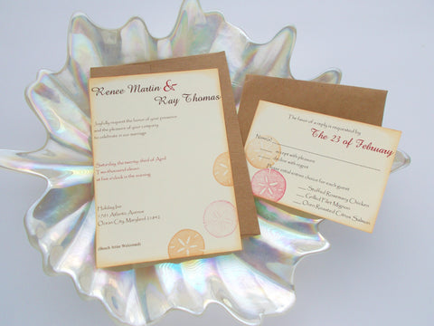 (No. 018) - Sand Dollar/Beach Themed Wedding Invitations
