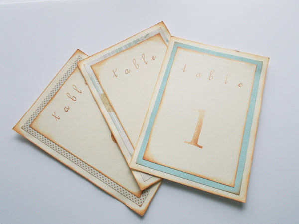 No. 034 - Shades of Blue and Green Vintage Table Numbers