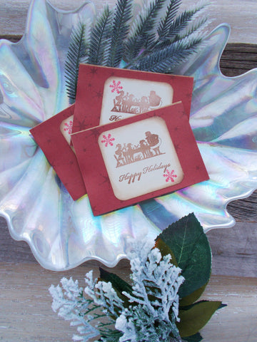 (No. 043) -  Red Snowflake Christmas Cards, Set of 3