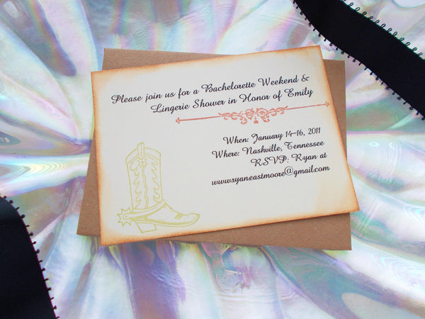 No. 048 - Cowboy Boot Bachelorette Party Invitations