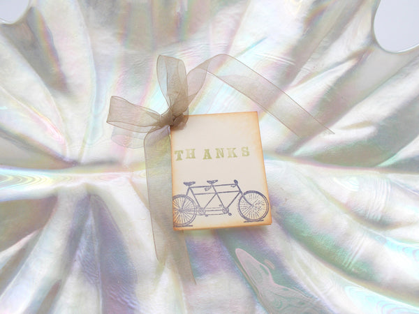 (No. 052.1) - Tandem Bicycle Wedding Gift Tags, Set of 25
