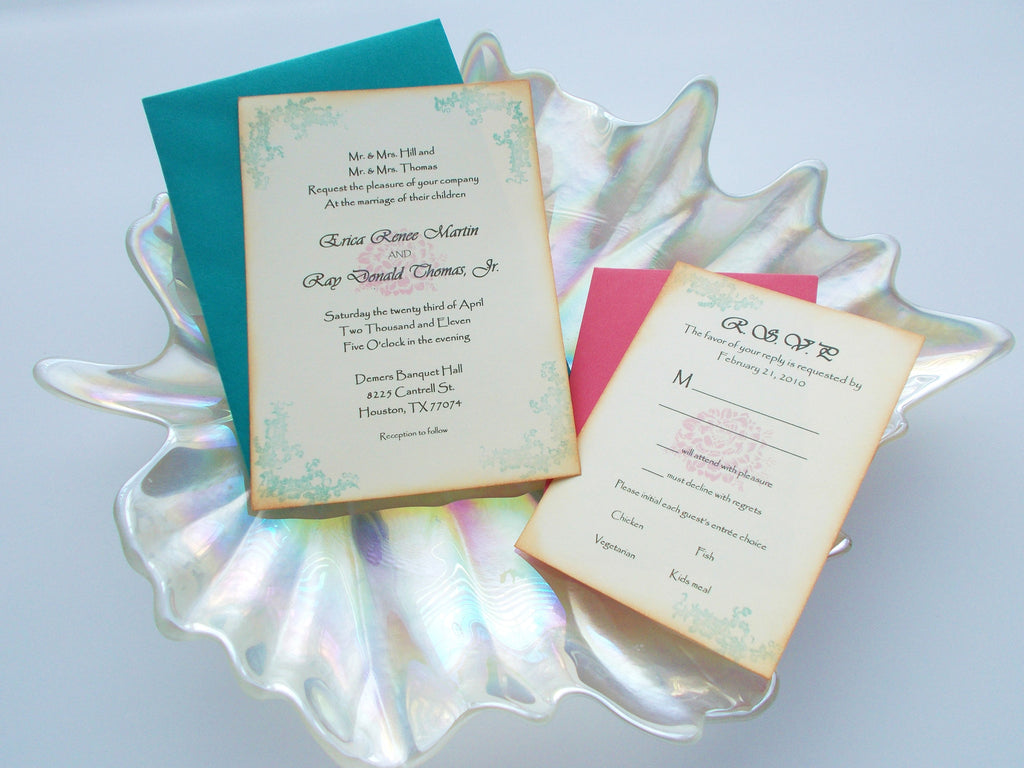 (No. 061) - Pink and Turquoise Flower Wedding Invitations