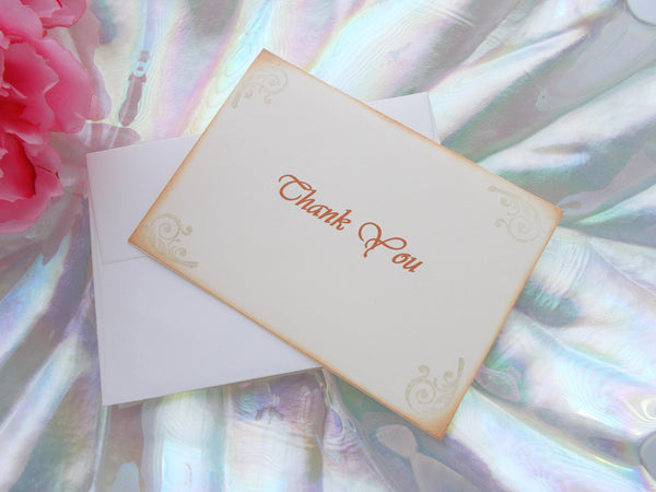 No. 069.2 - The Shabby Chic Cream and Gold Vintage Thank You Cards