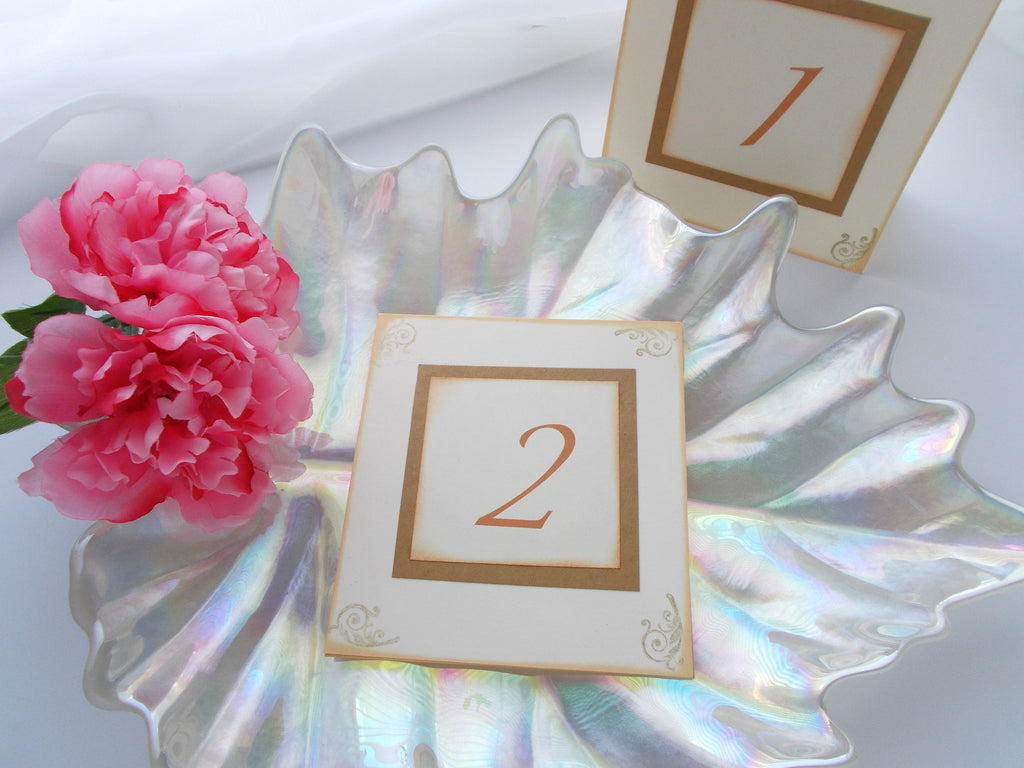 No. 069.3 - The Shabby Chic Cream and Gold Vintage Table Numbers