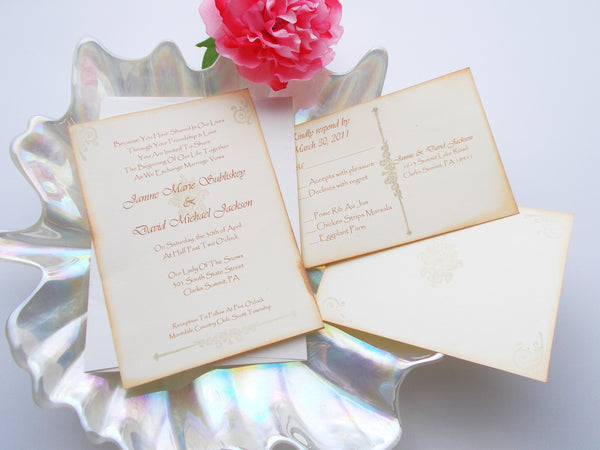 No. 069 - The Shabby Chic Cream and Gold Vintage Invitation