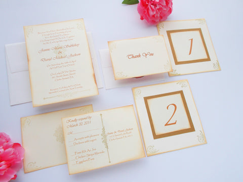(No. 069.1) - The Shabby Chic Cream and Gold Invitation Package, Set of 50
