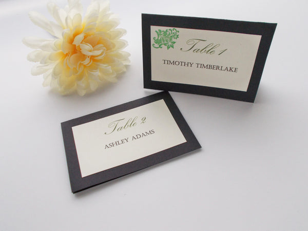 No. 084 - The Classic Place Cards in Green, Set of 25