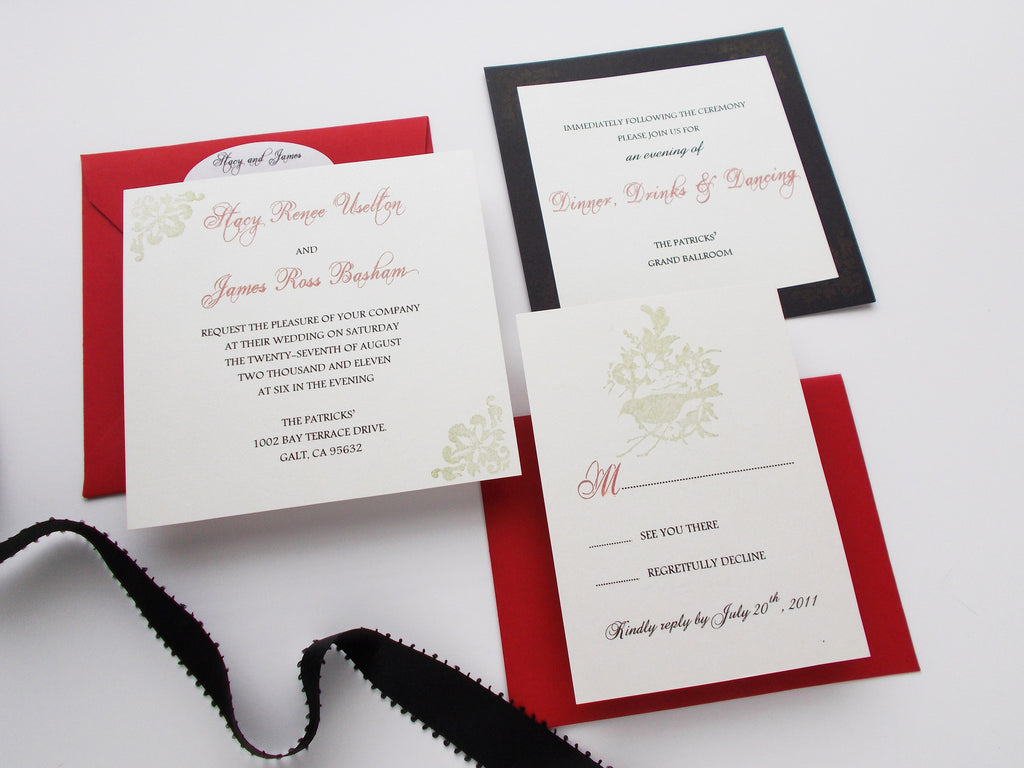 No. 085 - The Stacy in Red, Black, and Gold Wedding Invitation Set ...