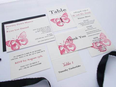 (No. 086.1) - Red Butterfly Invitation Package, DEPOSIT