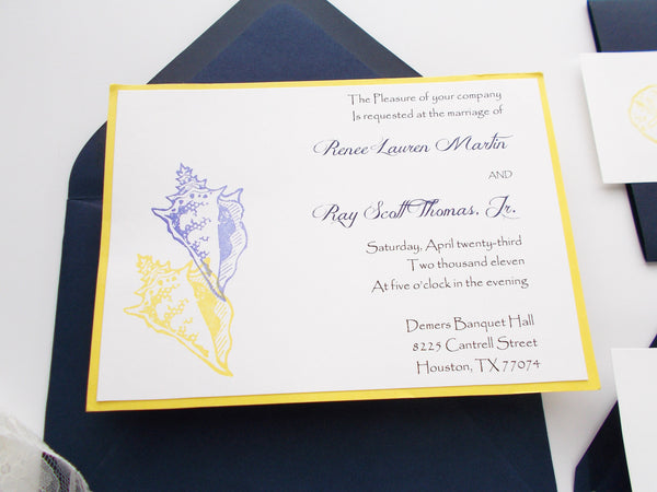 No. 091.1 - Navy Beach Nautical Wedding Invitation with Save the Dates