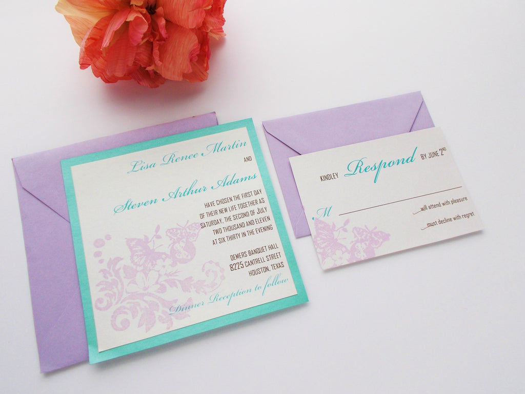 No. 111 - Butterfly Tea Party Wedding Invitations