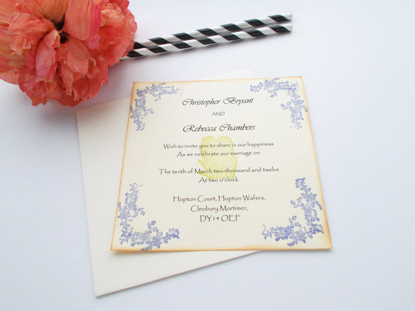 No. 126.1 - Flower Elegance Invitation in Blue and Green 5 x 5 square