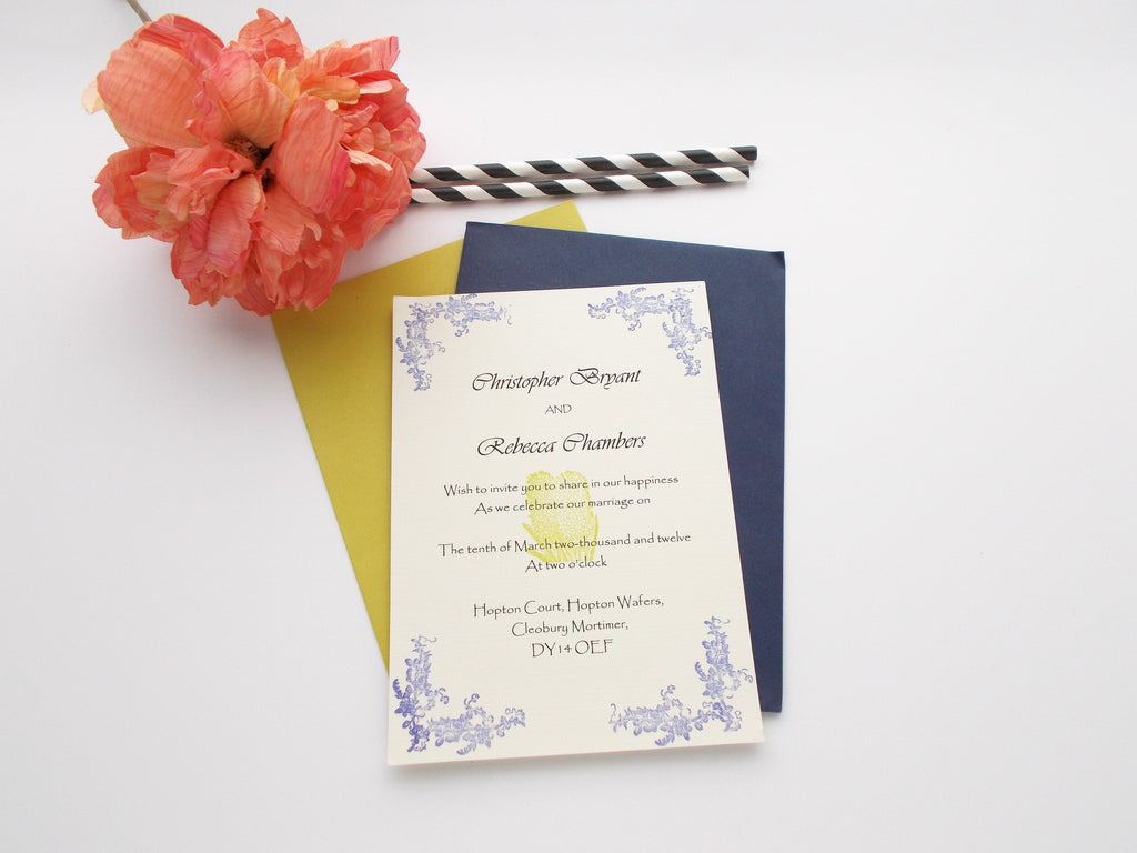 No. 126 - Flower Elegance Invitation in Blue and Green