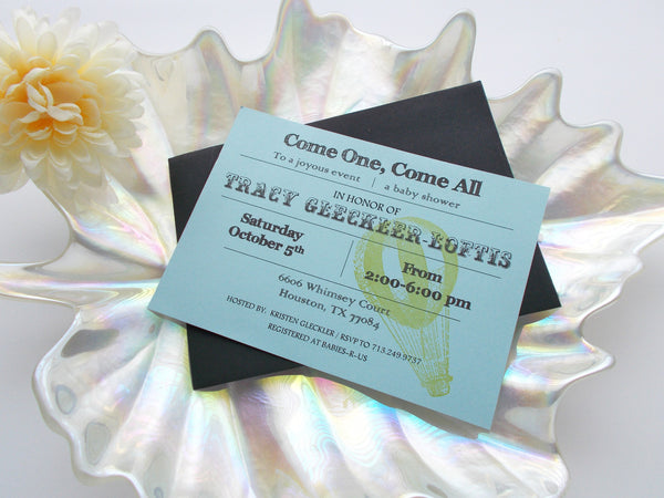 (No. 129.1) - Circus Themed Baby Shower Invitations in Blue