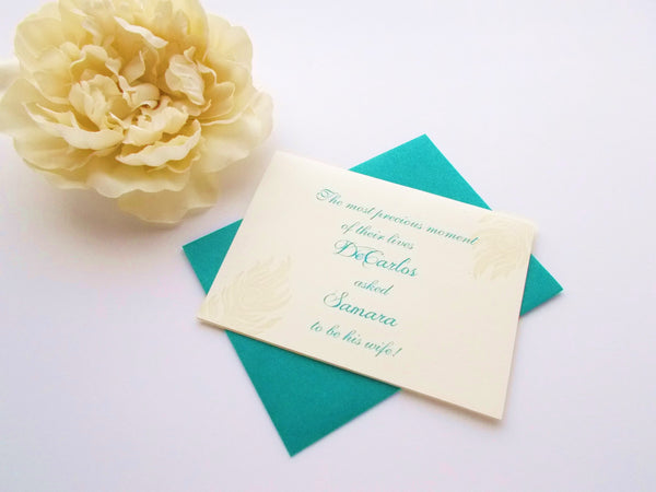 (No. 134.1) - Peacock Feather Invitation Card