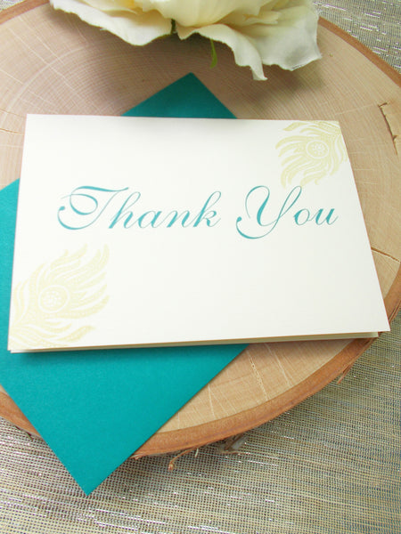 No. 134.2 - Gold Peacock Feather Thank You Card