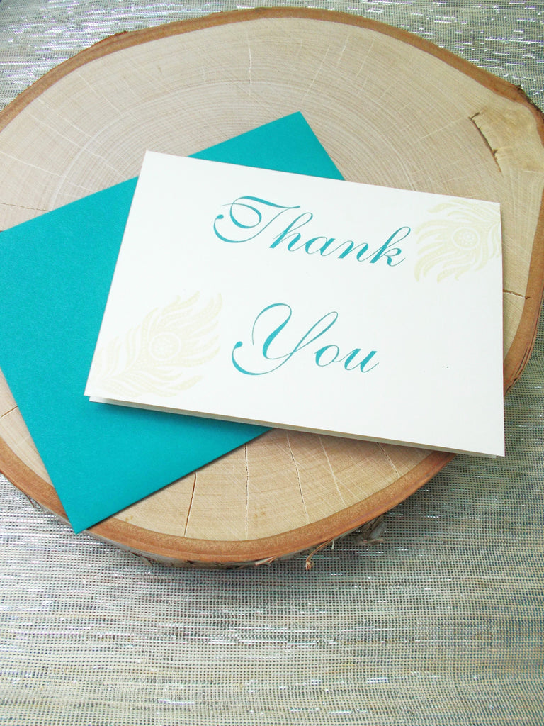 No. 134.3 - Gold Peacock Feather Thank You Card 2