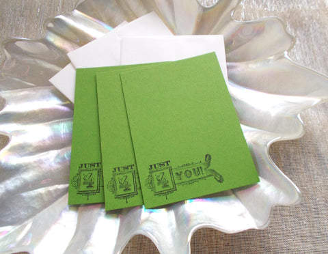 (No. 142) - Just 4 You Flat Note Card - in Green