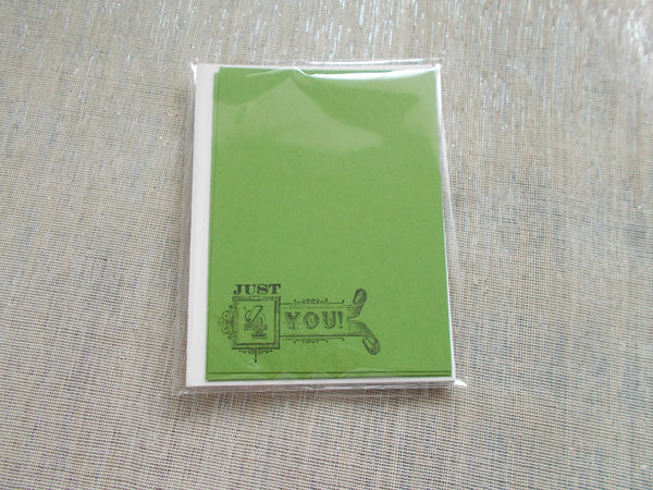 No. 142 - Just 4 You Flat Note Card - in Green