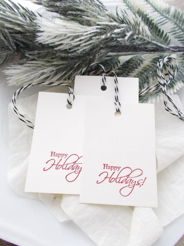 No. 146 - Happy Holidays Gift Tags, in Red - Set of 10