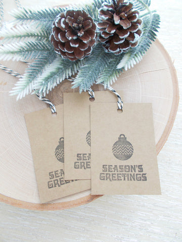 (No. 147) - Seasons Greeting Gift Tags, in Black - Set of 10