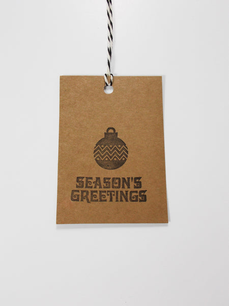 No. 147 - Seasons Greeting Gift Tags, in Black - Set of 10