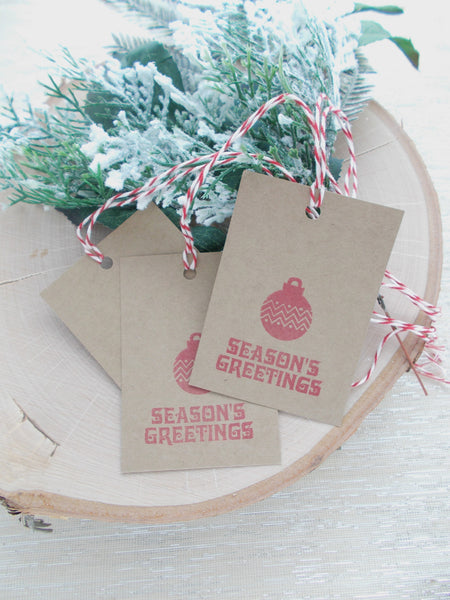 No. 148 - Seasons Greeting Gift Tags, in Red - Set of 10