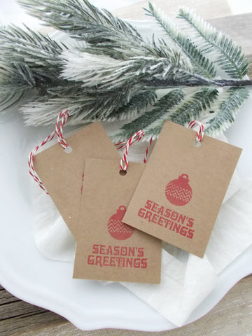 (No. 148) - Seasons Greeting Gift Tags, in Red - Set of 10