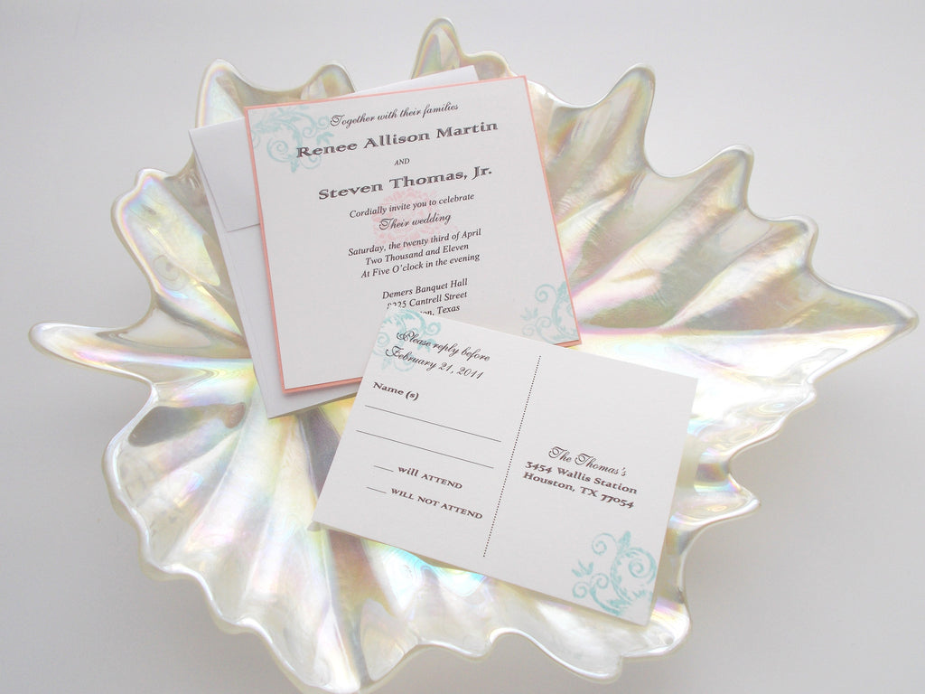 No. 149 - Teal and Pink Modern Flower Invitations