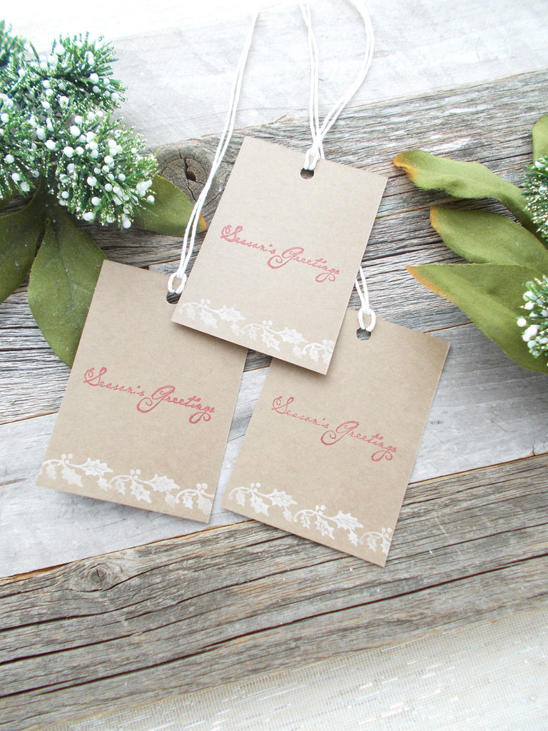No. 153 - Holiday Gift Tags/Hand Stamped Gift Tags/Holiday Gift Tags - Set of 10