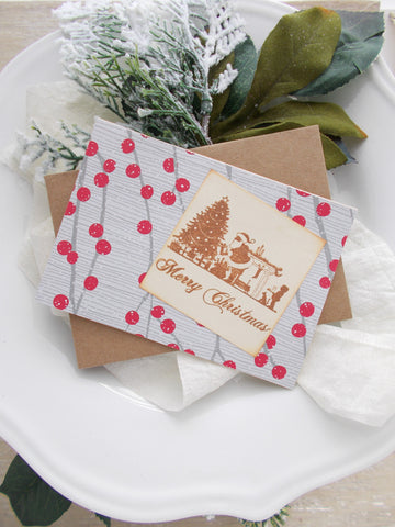 (No. 155) - Holly Berry Holiday Card - Set of 3