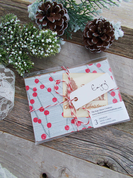 No. 155 - Holly Berry Holiday Card - Set of 3