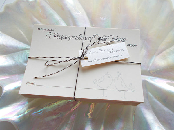 No. 157 - Two Doves Wedding Wish Box Insert Cards, Guest Book Alternative, Wish Box