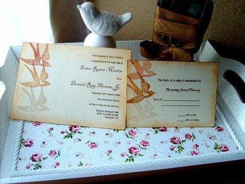 No. 008 - Three Bird Wedding Invitation Set
