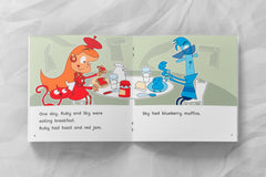 Sample page from Ruby Red and Sky Blue, Rigby Rocket