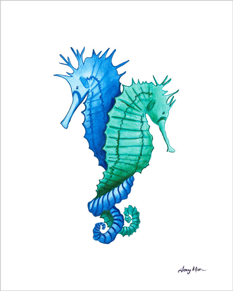 Limited Edition Capri Seahorses Entwined Print I
