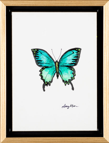 "Emerald Green Swallowtail              6 ½"" x 8 ¾"" x 2"" deep"