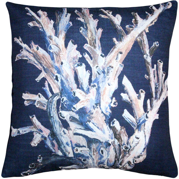 Ocean Reef Coral on Marine Navy Pillow