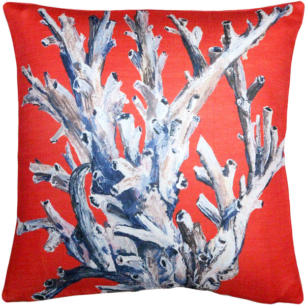 Ocean Reef Coral On Red Pillow