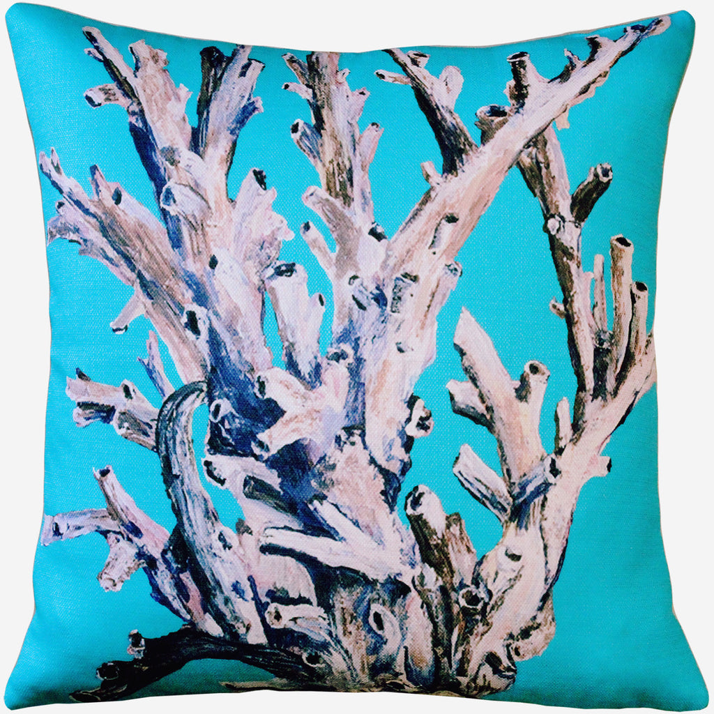 Ocean Reef Coral on Turquoise Pillow