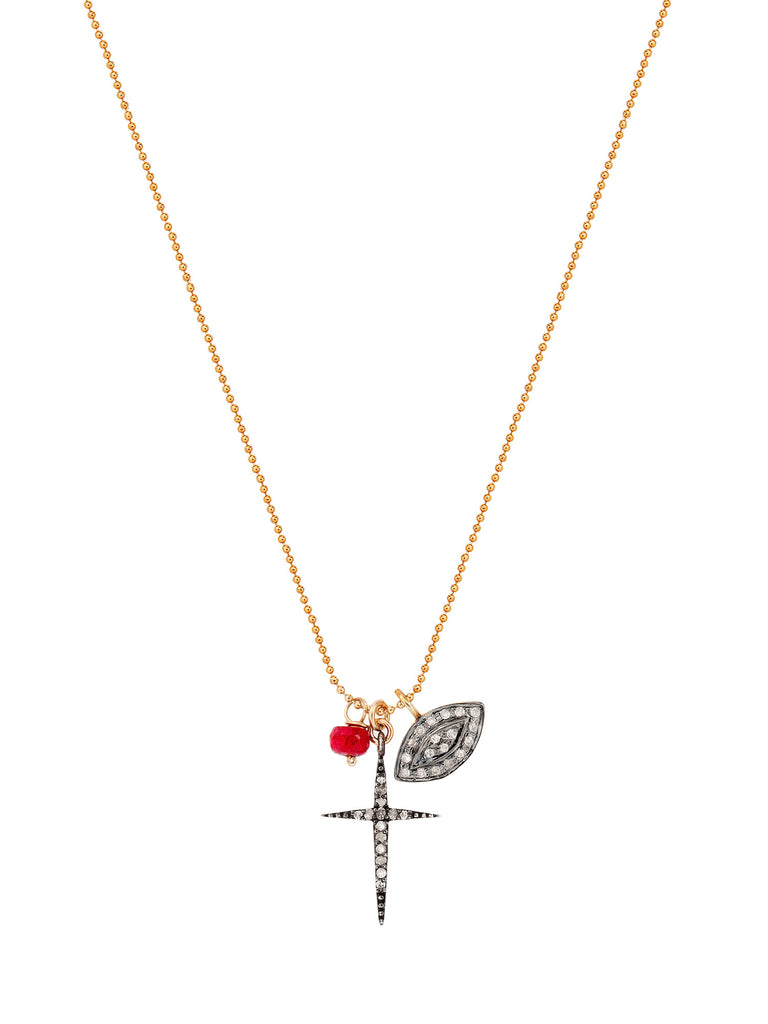 Pave Diamond Cross, Eye of God, and Ruby Necklace