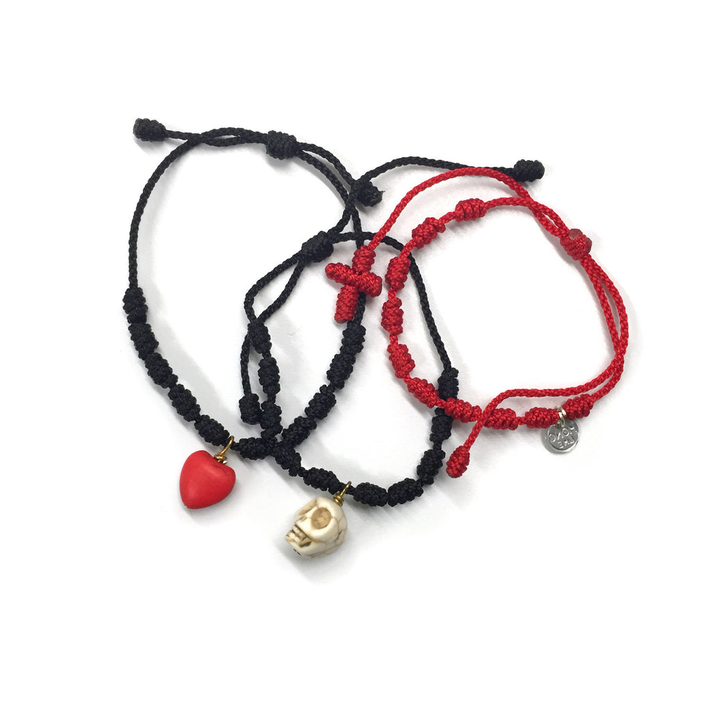 Edgy Red Bracelet Set - Cotton/Nylon