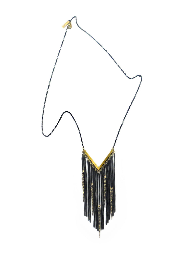 Brass V Fringe Necklace