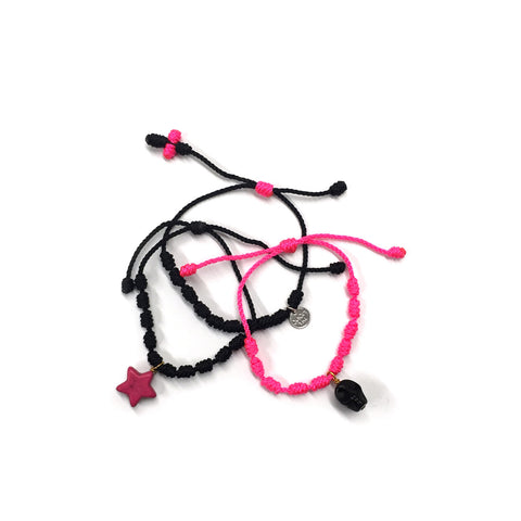 Splashes of Pink Bracelet Set - Cotton/Nylon
