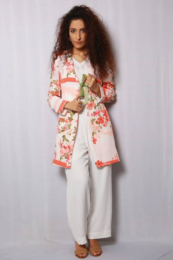 Peach & White Tailored Suit - hum hum London
