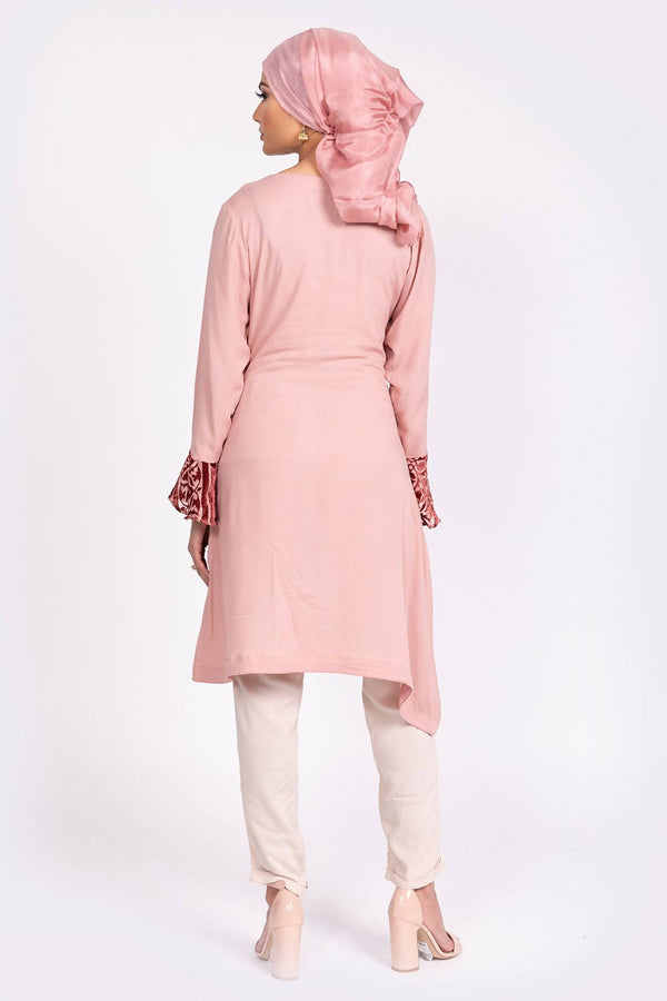 Pink Velvet Bell Sleeve Top - hum hum London