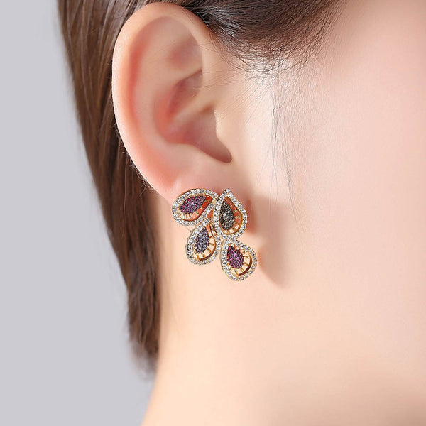 Crystal leaves with Multi Stones Stud Earrings - Saverah Village