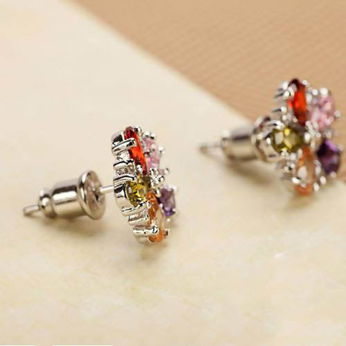 Multi Stone Stud Earrings - Saverah Village