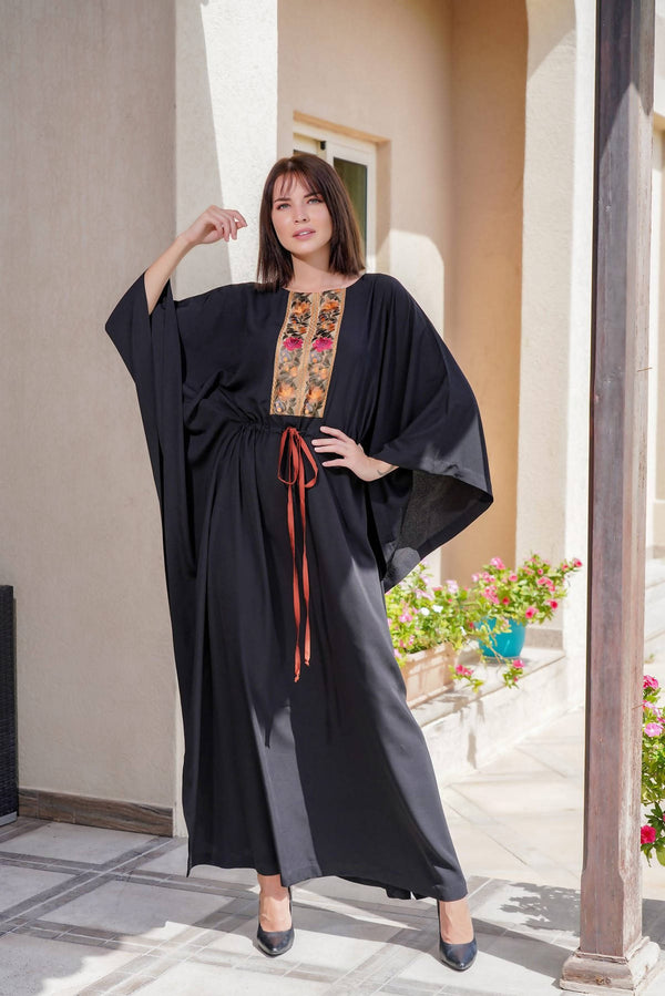 2021 Black Kaftan With Multicoloured Trim - Chenille Boutique