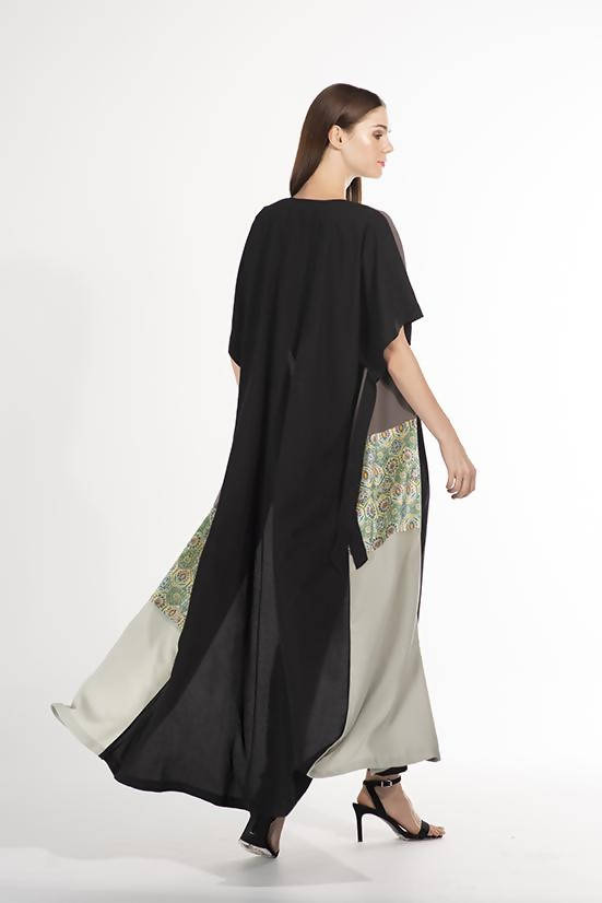 Open Kaftan Black with print - Chenille Boutique